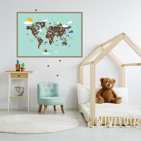 Kids world map poster print with rainbow coloured animals, on mint background, framed in children`s room
