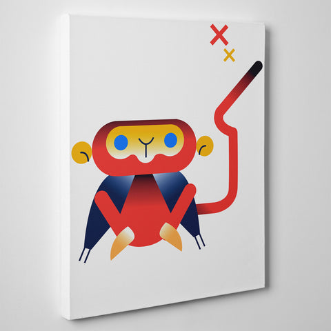 Nursery canvas print with a red monkey, on white background - side view