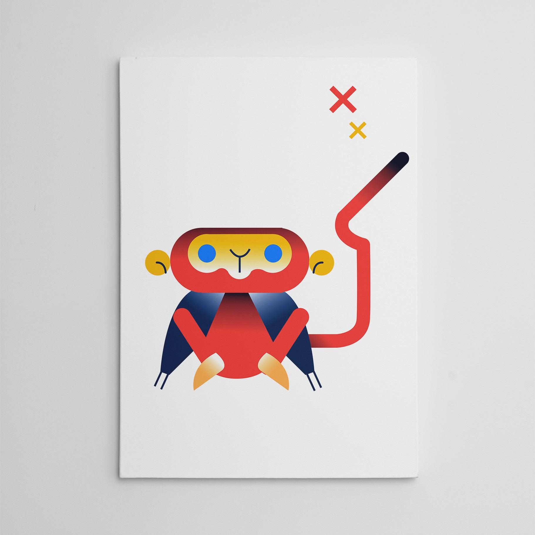 Nursery canvas print with a red monkey, on white background.