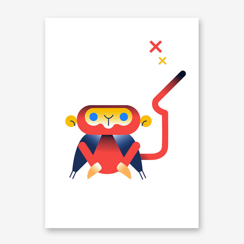 Nursery poster print with a red monkey, on white background.