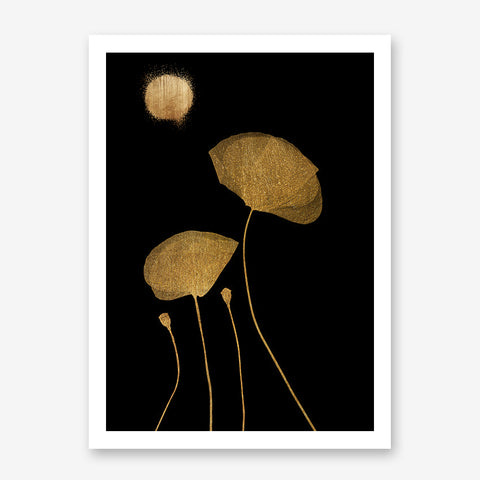 Botanical poster print by Kubistika, with golden flowers and full moon, on black background.