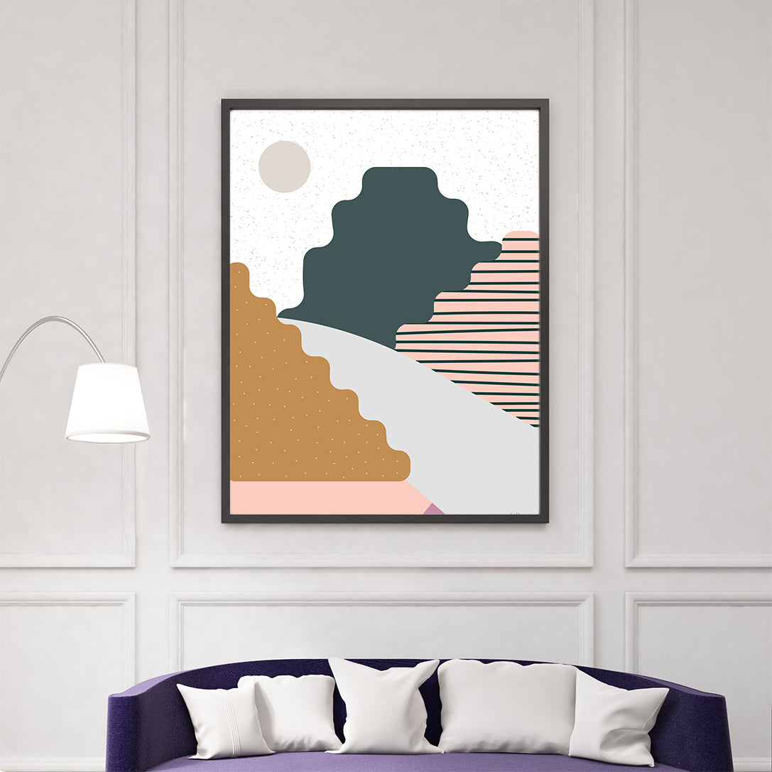 Nature graphic print by Linda Gobeta, with colourful mountains, on grey and white patterned background, living room view