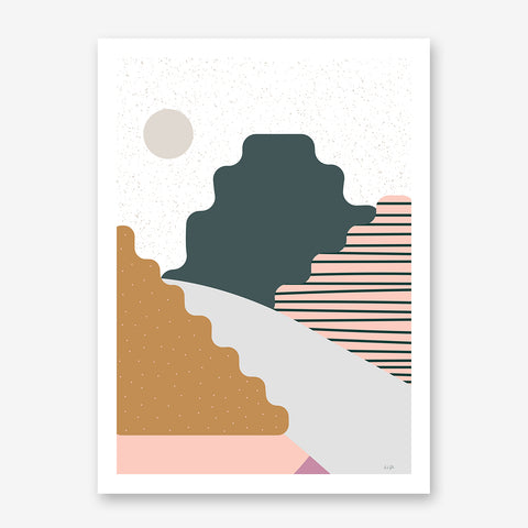 Nature graphic print by Linda Gobeta, with colourful mountains, on grey and white patterned background.