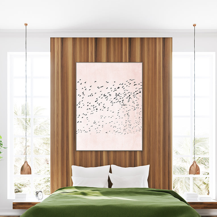Illustration print by Kubistika, with black birds, on pink background; in bedroom