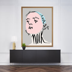 Fashion illustration print with an abstract woman's portrait made of face parts names, framed