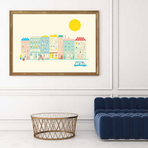 Graphic print with a colourful neighbourhood, on beige background, in living room