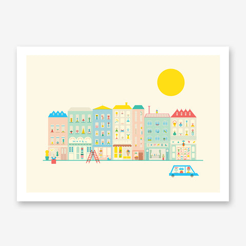 Graphic print with a colourful neighbourhood, on beige background.