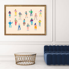 Abstract illustration print with a group of connected people, on peach background, in living room