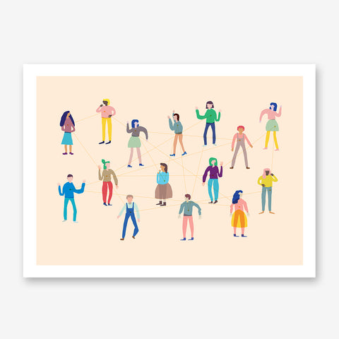 Abstract illustration print with a group of connected people, on peach background.
