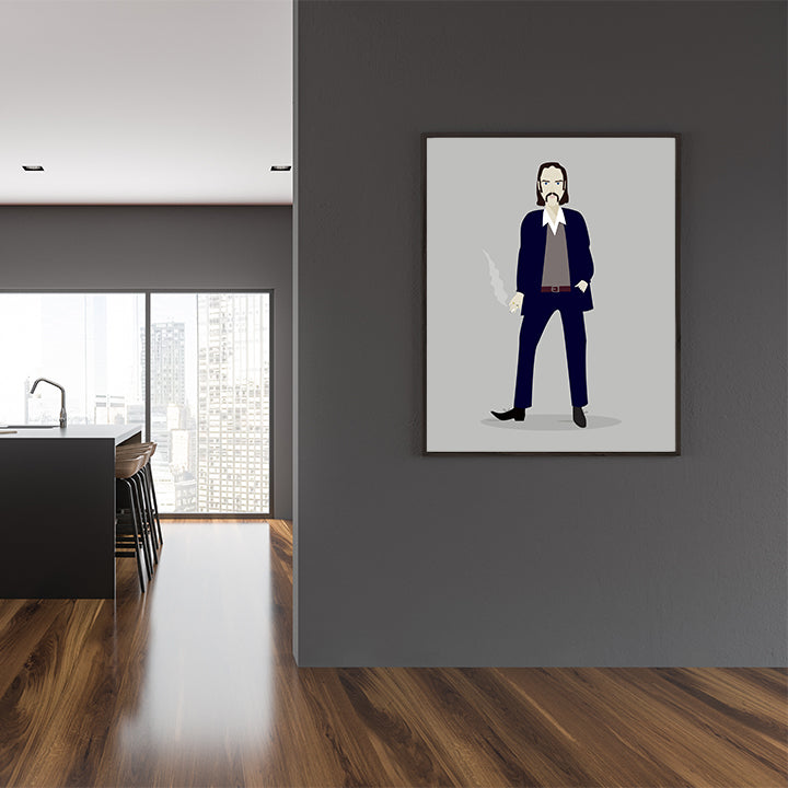 Celebrity illustration print with Nick Cave stylishly drawn by Judy Kaufmann to bring out the essence of his style and character, in dining room
