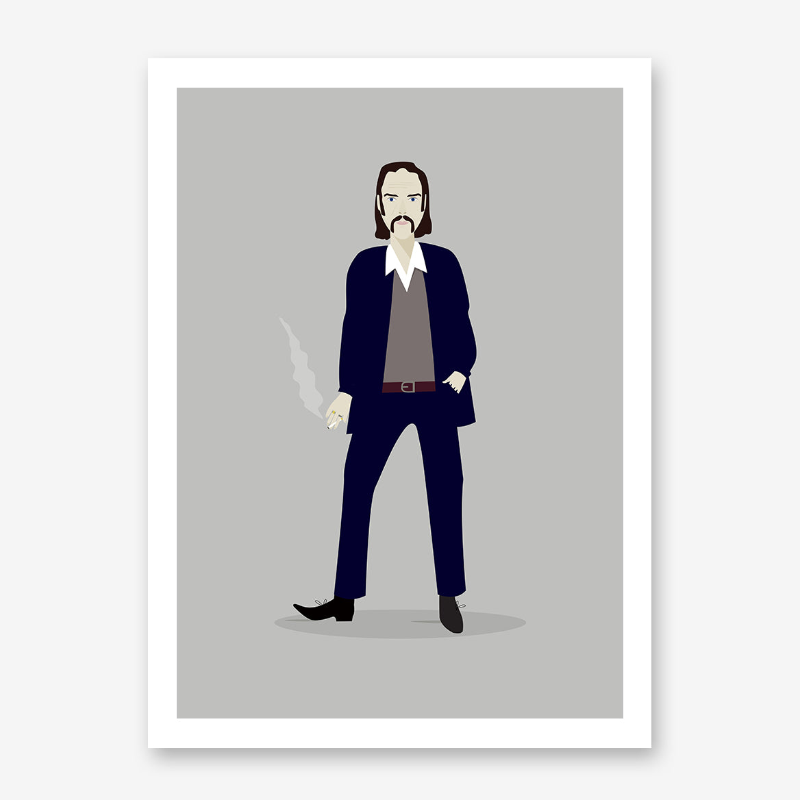 Celebrity illustration print with Nick Cave stylishly drawn by Judy Kaufmann to bring out the essence of his style and character
