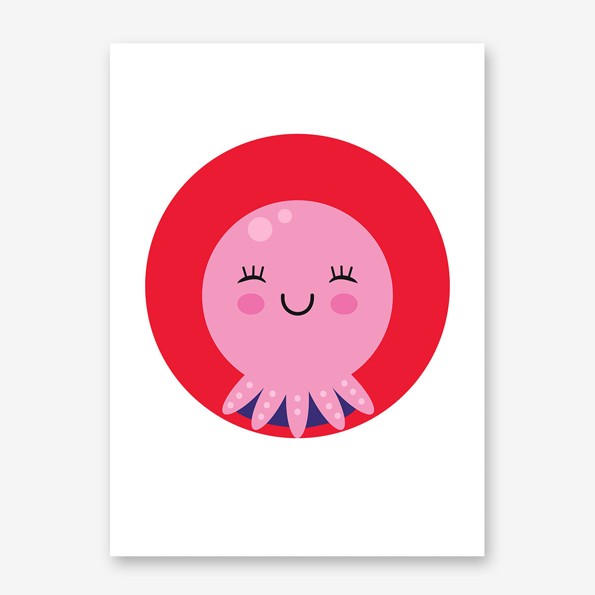 Nursery poster print with a happy pink octopus in a red circle.