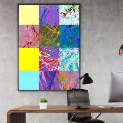 Poster print with colourful abstract digital art collection, in office
