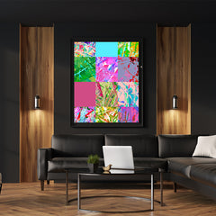 Poster print with colourful abstract digital art collection, in living room