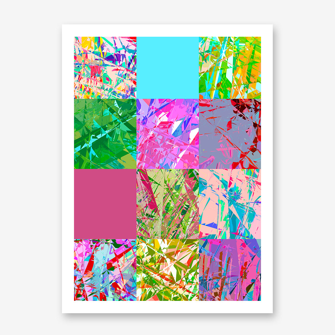 Poster print with colourful abstract digital art collection.