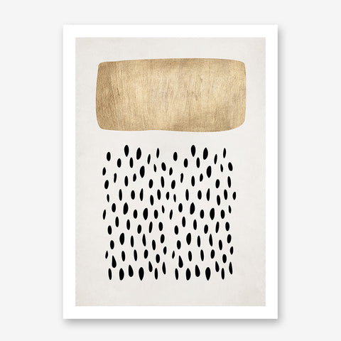 Abstract poster print by Kubistika, with gold and black shapes, on light grey background.