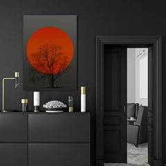 Canvas print with orange sun and a tree, on grey textured paper effect background - room view