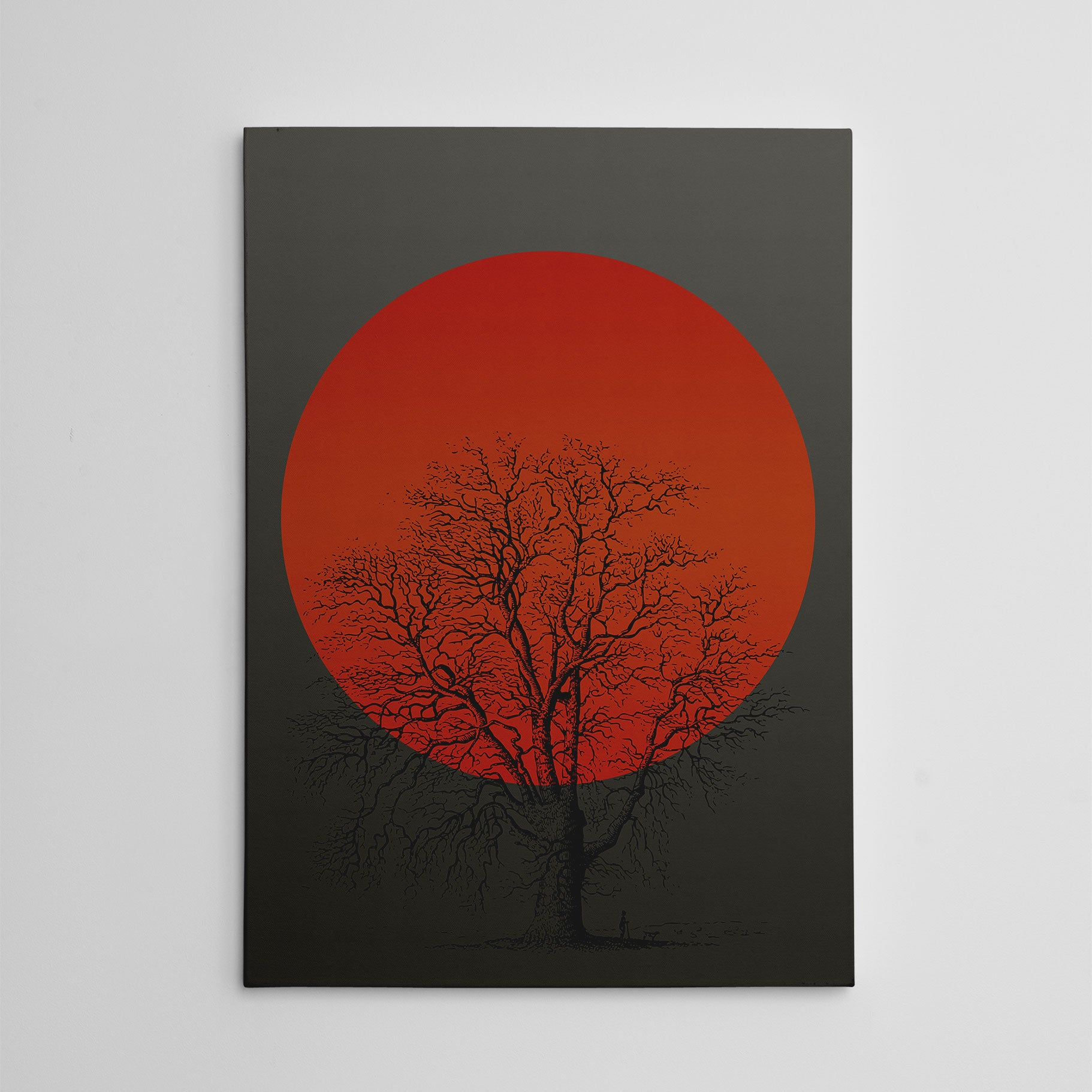 Canvas print with orange sun and a tree, on grey textured paper effect background