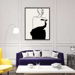 Line art poster print by Sophia Novosel, with an abstract woman in black and grey - living room view