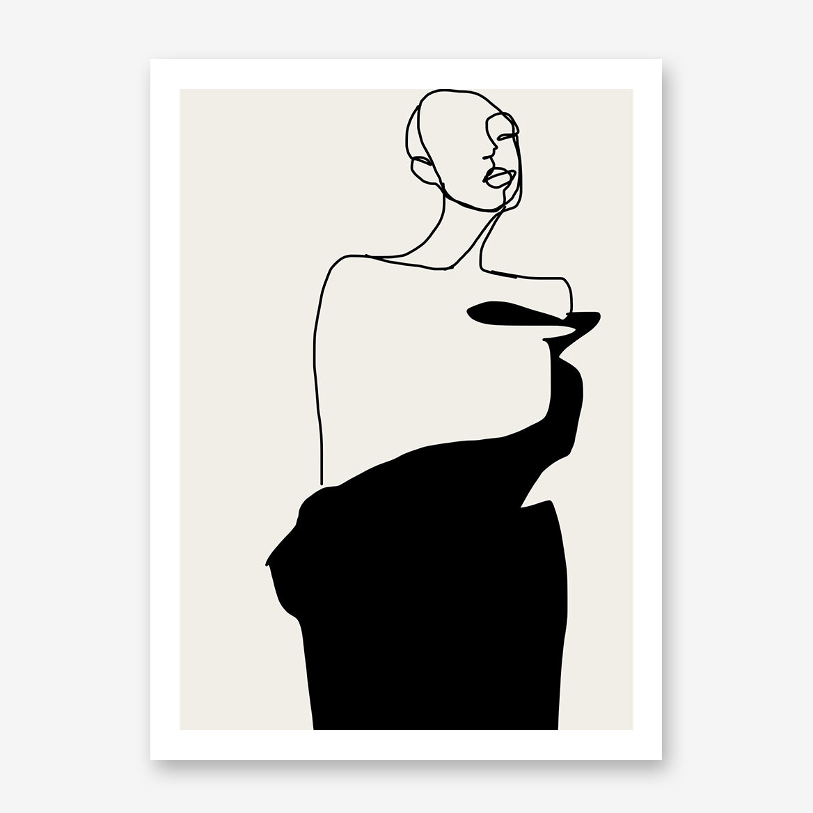 Line art poster print by Sophia Novosel, with an abstract woman in black and grey.