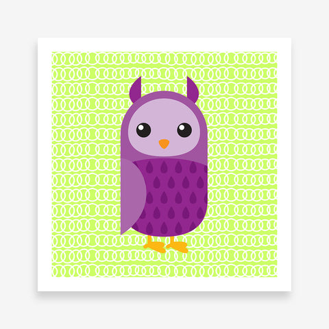 Poster print with a purple owl on green patterned background