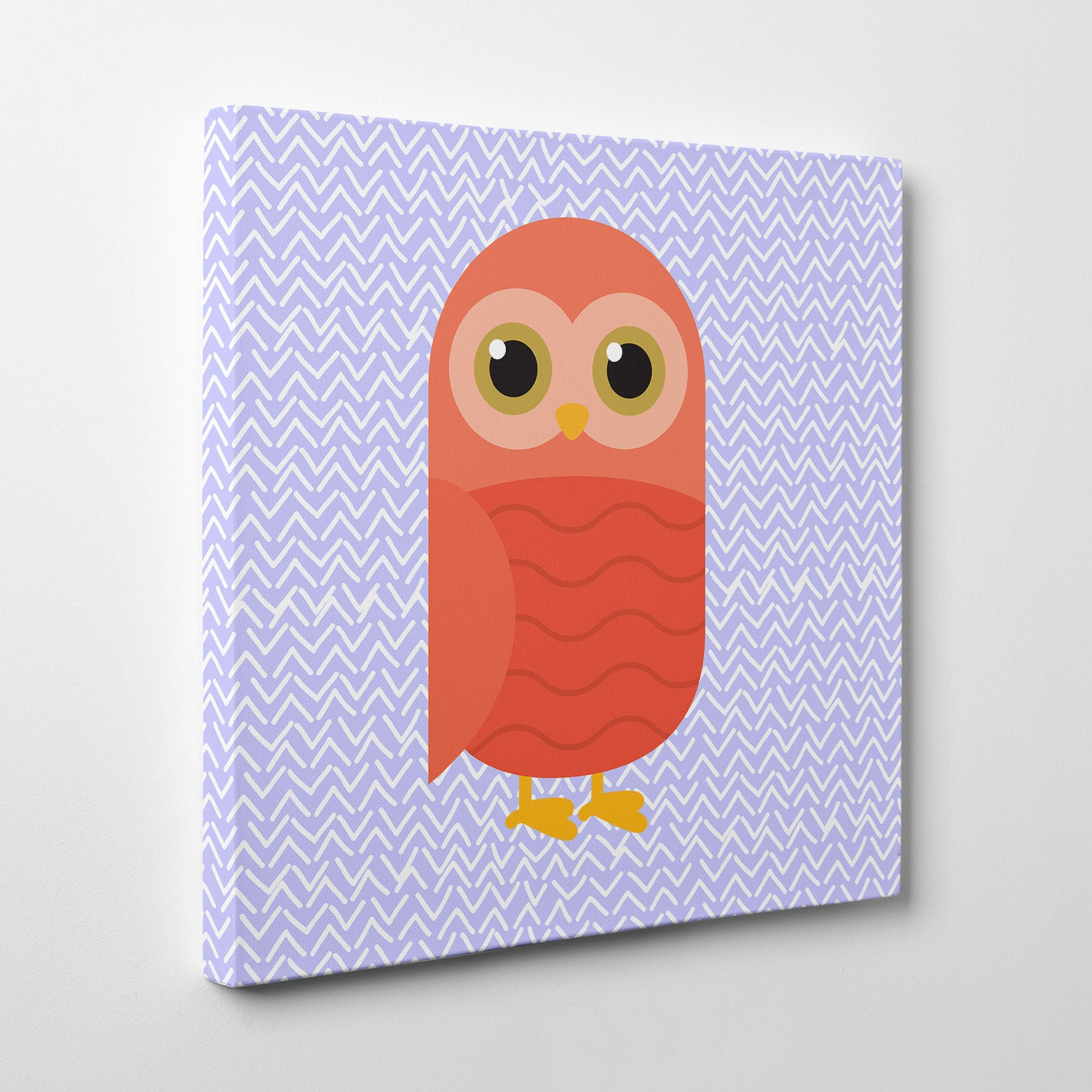 Canvas print with a red owl on purple patterned background - side view