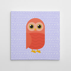 Canvas print with a red owl on purple patterned background.