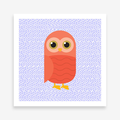 Poster print with a red owl on purple patterned background.