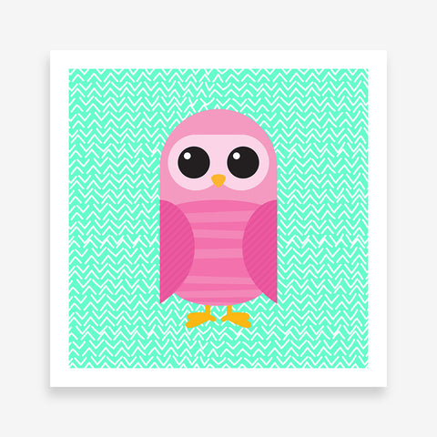 Poster print with a pink owl on mint patterned background.