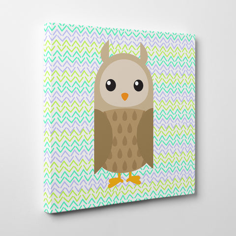 Canvas print with a brown owl on green patterned background - side view