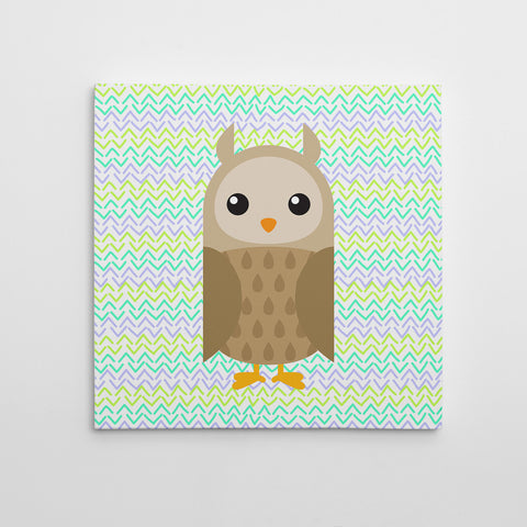 Canvas print with a brown owl on green patterned background.