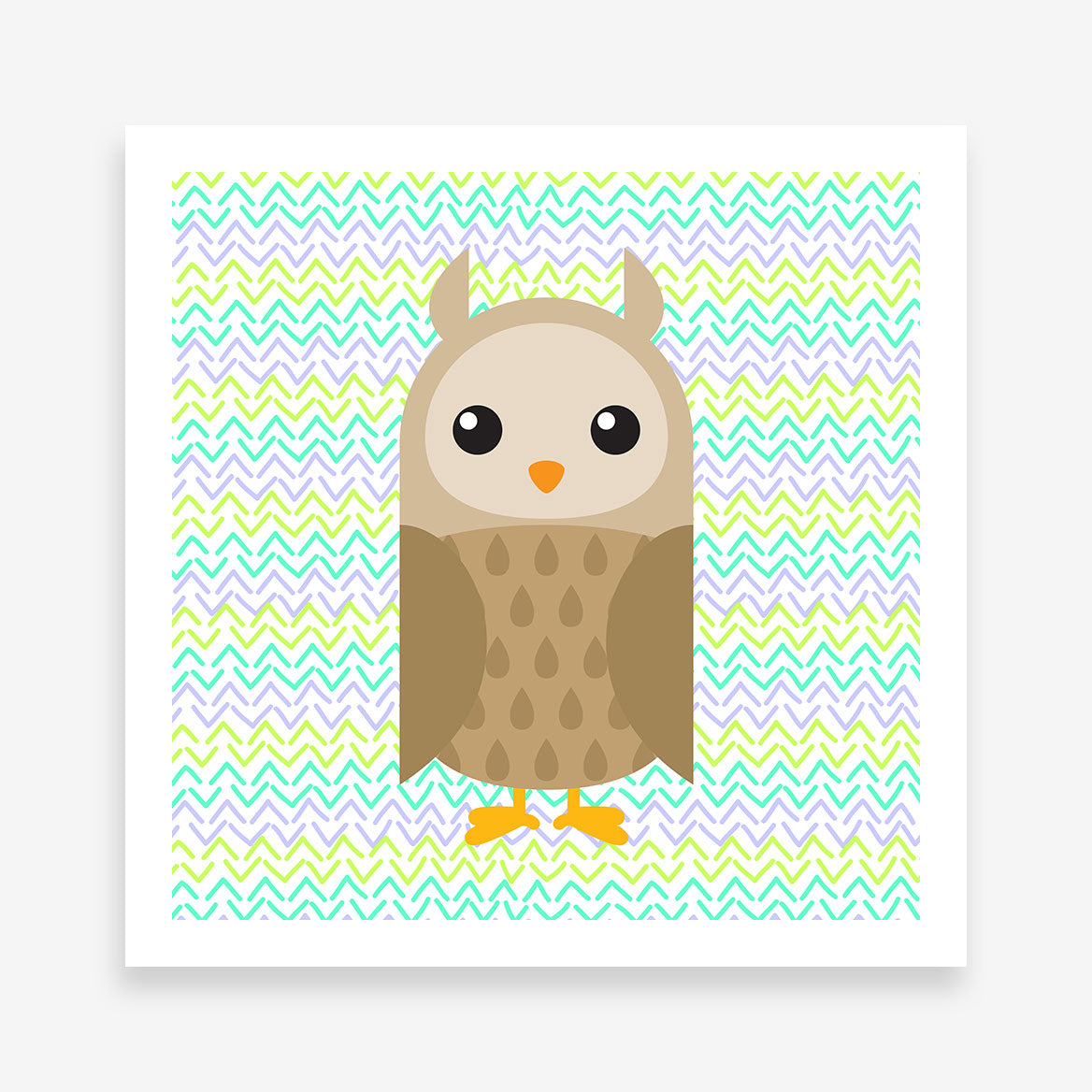 Poster print with a brown owl on green patterned background