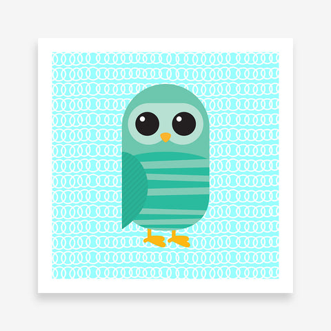 Poster print with a green owl on blue patterned background.