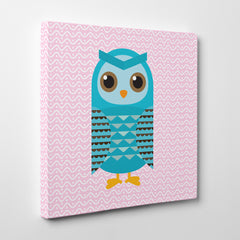 Square canvas print with a blue owl on pink patterned background - side view