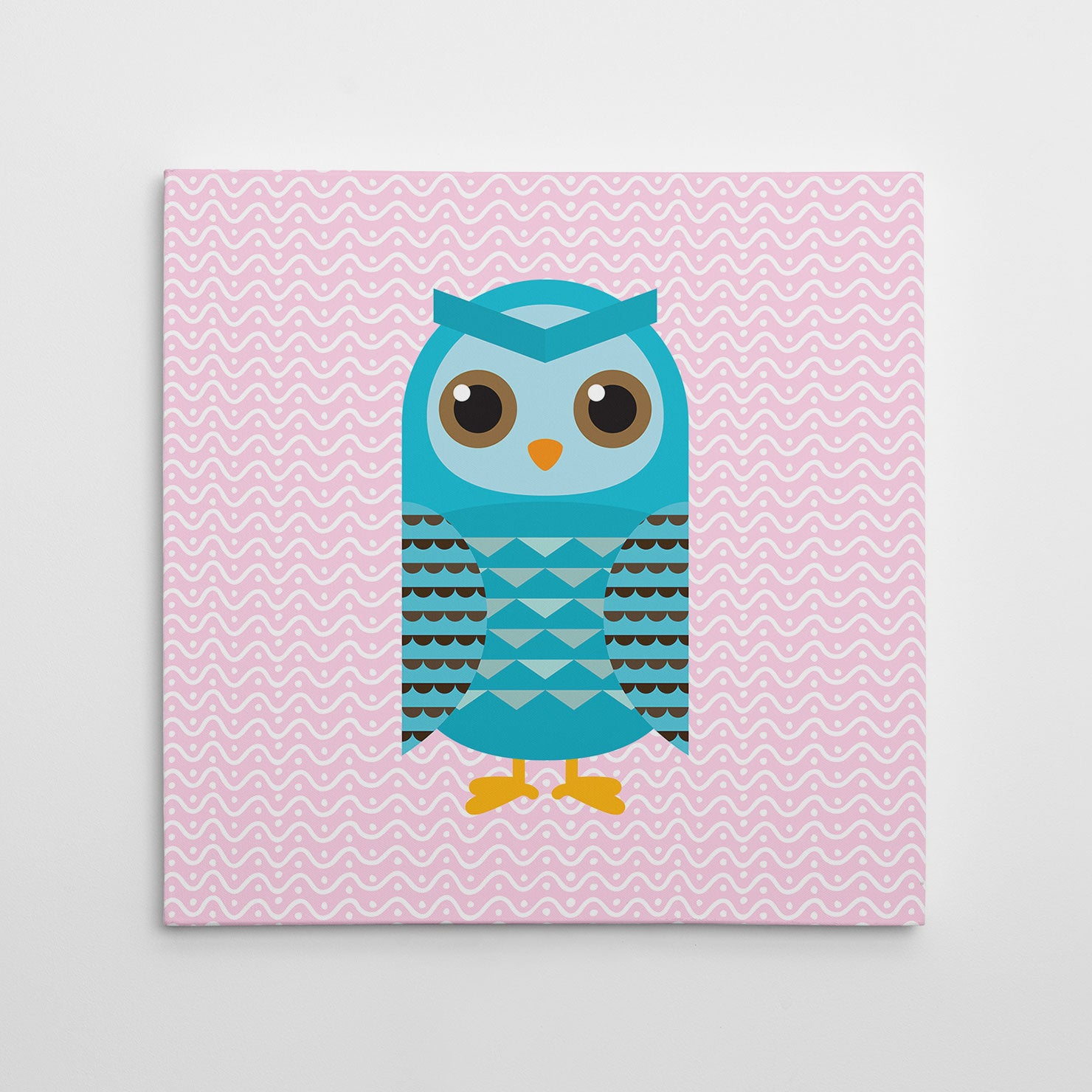 Square canvas print with a blue owl on pink patterned background.