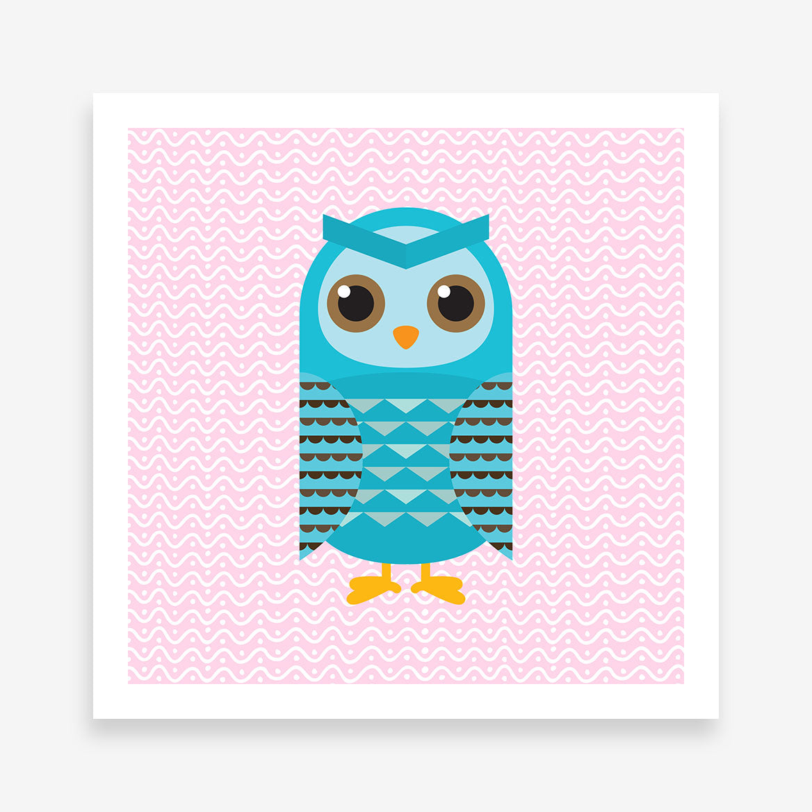 Square poster print with a blue owl on pink patterned background.