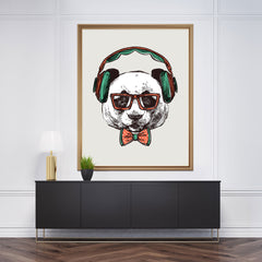Sketch wall art with a panda with headphones on light grey background