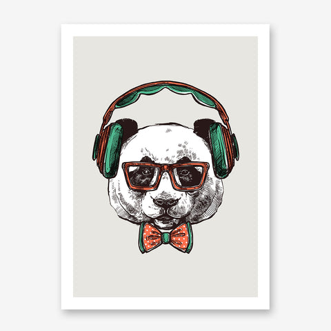 Sketch poster print with a panda with headphones on light grey background