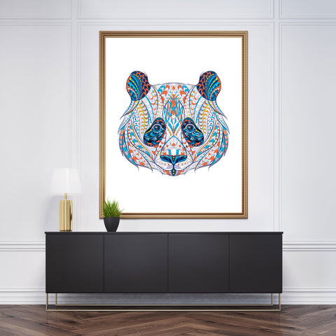 Patterned wall art decor with a panda's head on white background