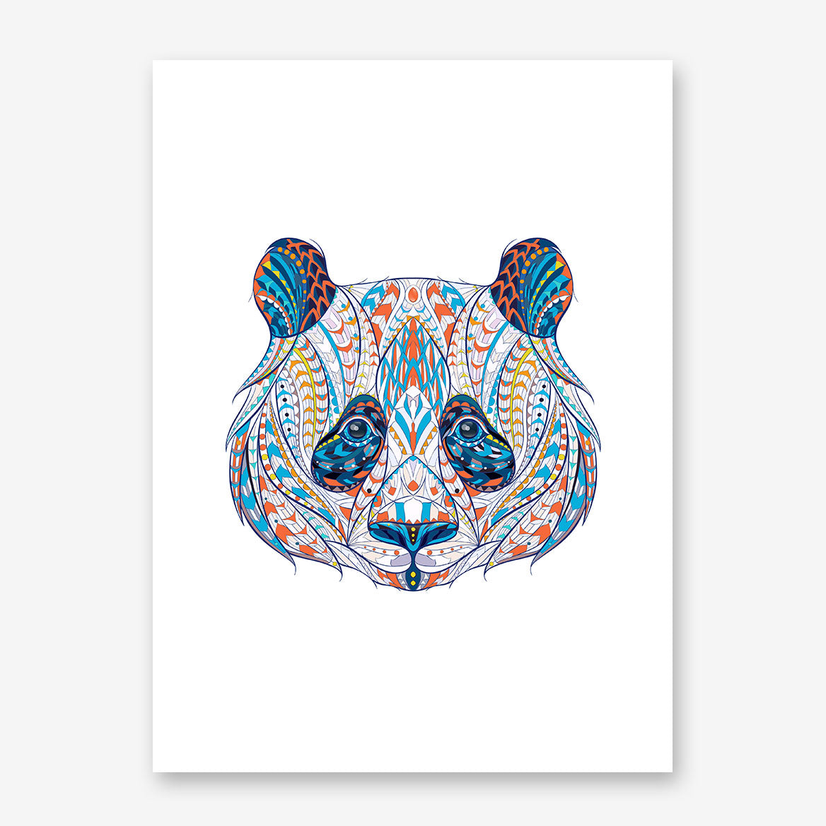 Patterned poster print with a panda's head on white background