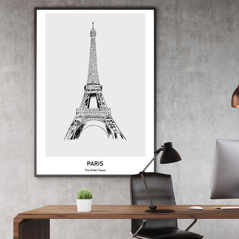 Doodle inspired poster print with drawing and text - Paris, The Eiffel Tower, wall view