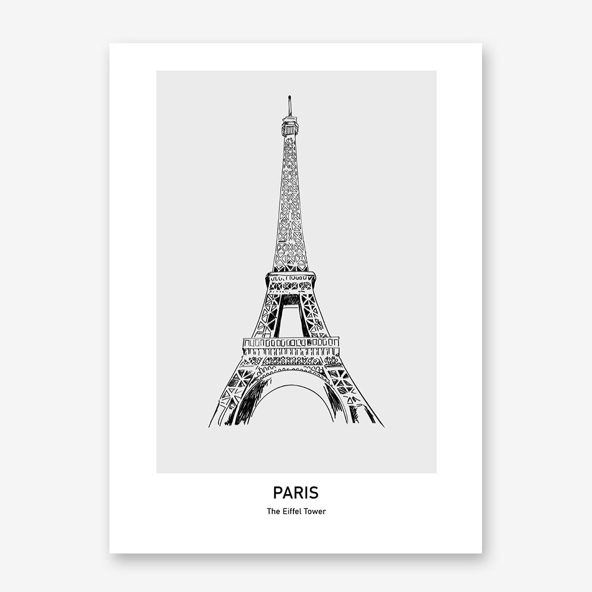 Doodle inspired poster print with drawing and text - Paris, The Eiffel Tower.