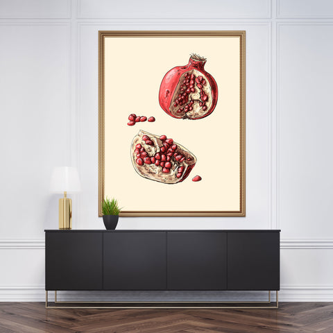 Kitchen wall art print with an open watercolour pomegranate, on a beige background