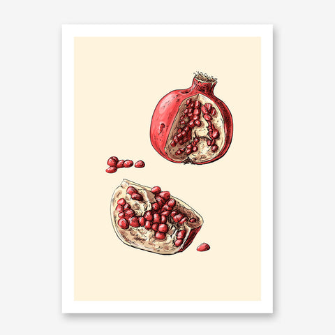 Kitchen poster print with an open watercolour pomegranate, on a beige background