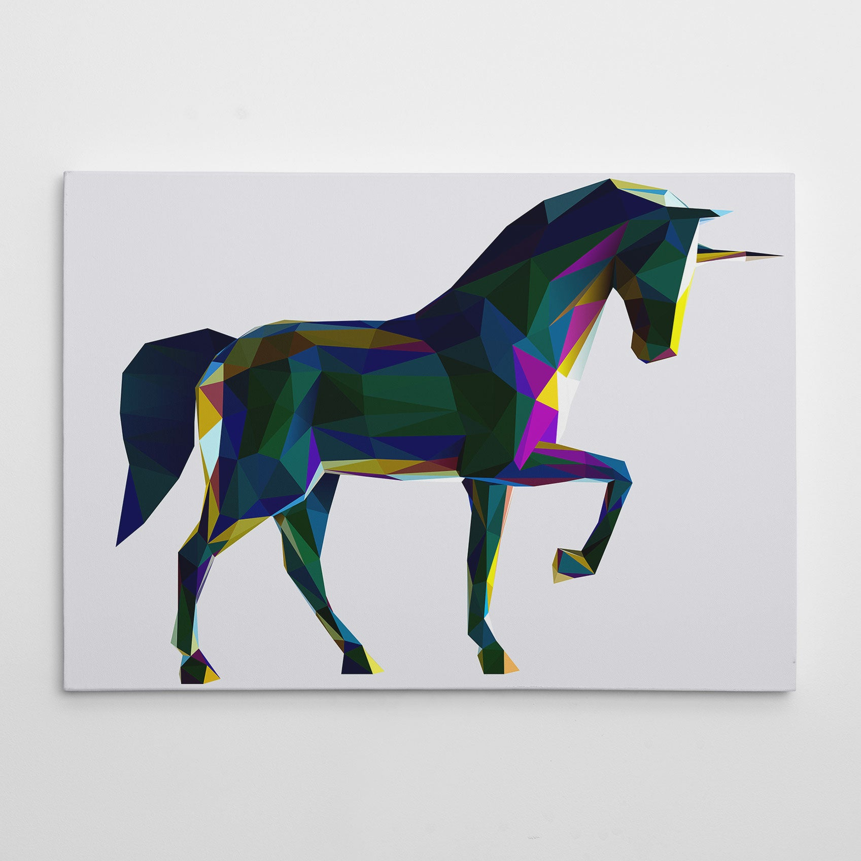 Geometric canvas print with colourful poly horse, on grey background