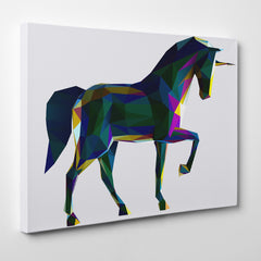 Geometric canvas print with colourful poly horse, on grey background - side view