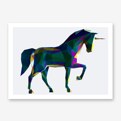 Geometric poster print with colourful poly horse, on grey background.