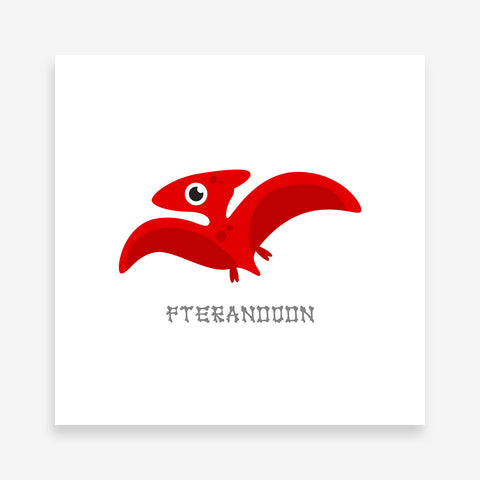 Poster print with a red Pteranodon dinosaur and grey text.