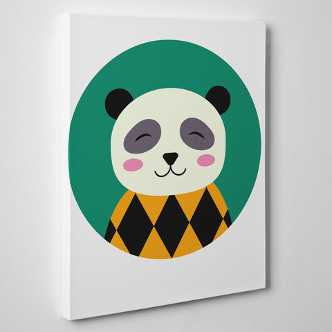Nursery canvas print with a smiley panda in a green circle - side view