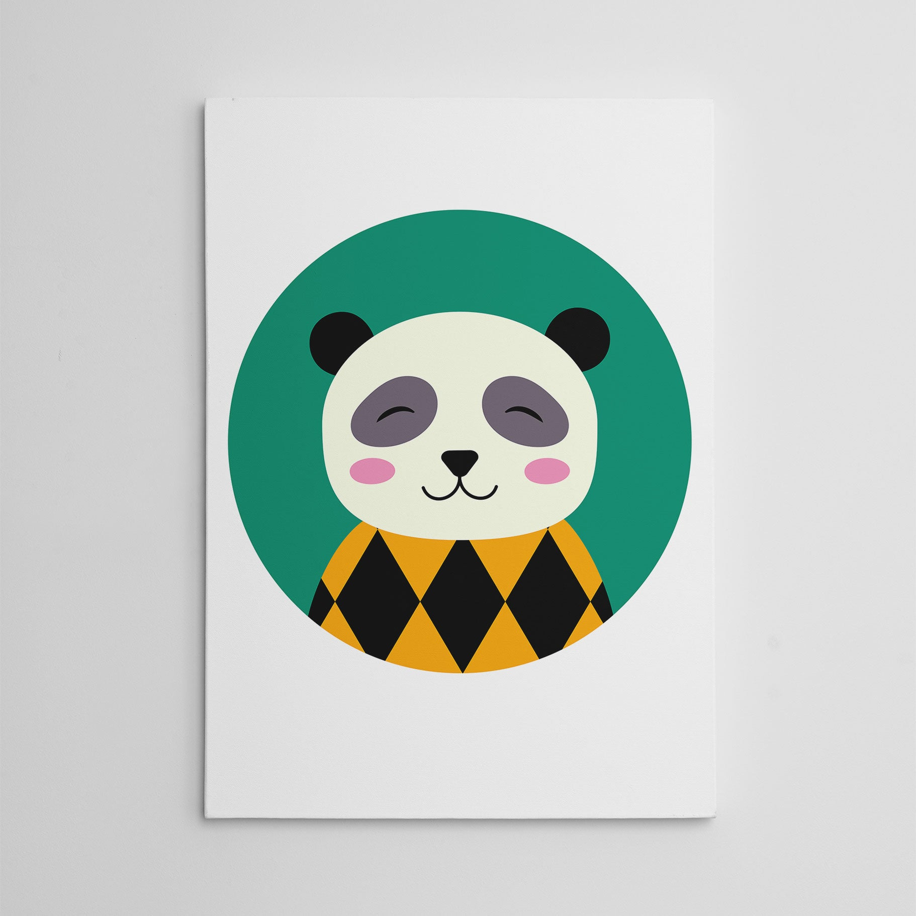 Nursery canvas print with a smiley panda in a green circle.
